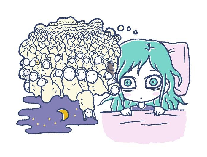 眠れなくて羊を数える女性のイラスト